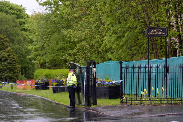 Police incident at Craigton cemetery Cardonald Glasgow